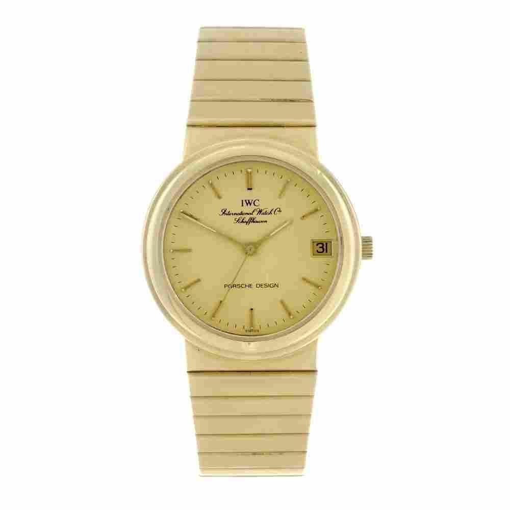 IWC - a gentleman's Porsche Design bracelet watch. 18ct