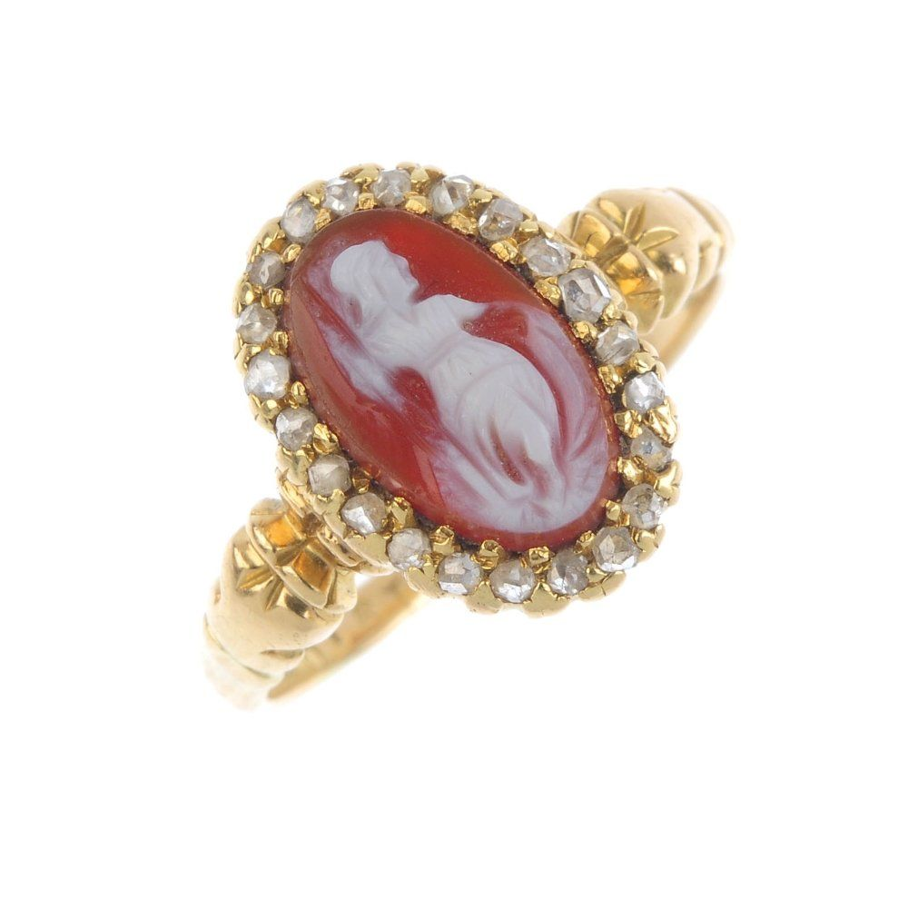 A late Victorian gold, hardstone cameo and diamond
