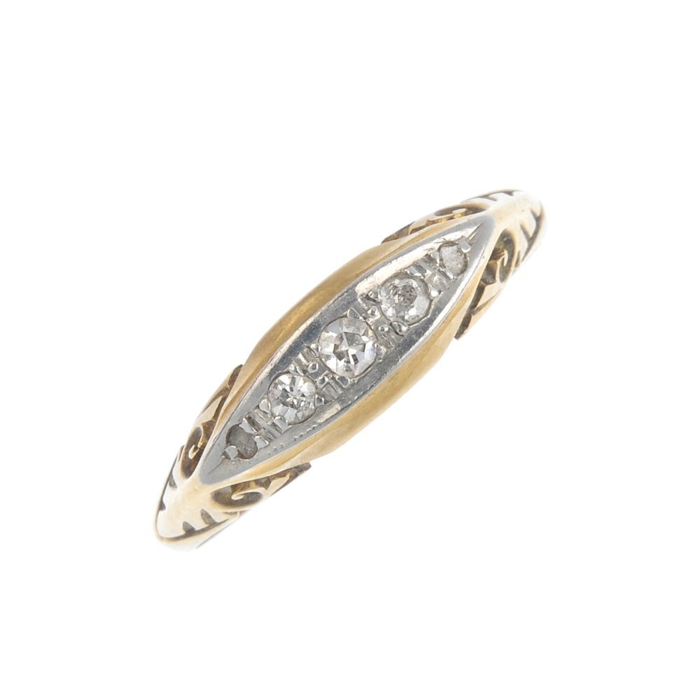 An early 20th century gold diamond five-stone ring. The