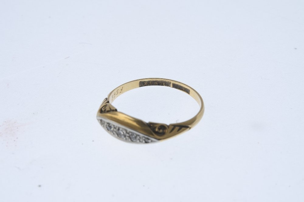 An early 20th century gold diamond five-stone ring. The - 4