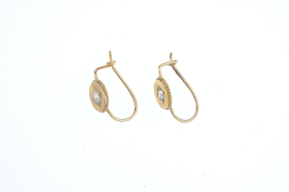 A pair of diamond earrings. The late Victorian gold - 2