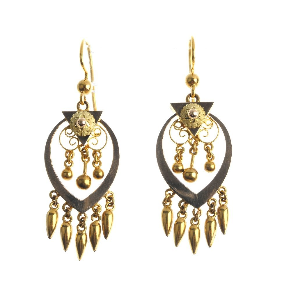 A pair of earrings. Each of openwork design, comprising