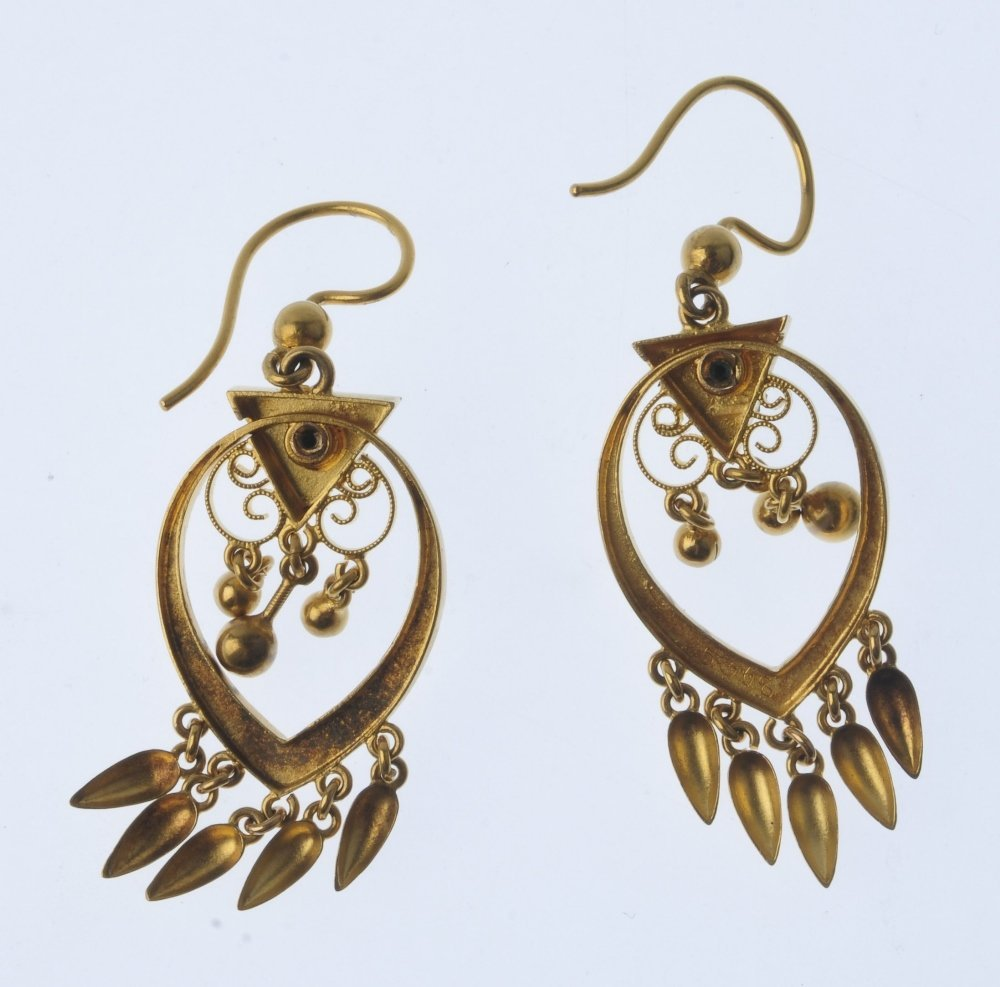 A pair of earrings. Each of openwork design, comprising - 2