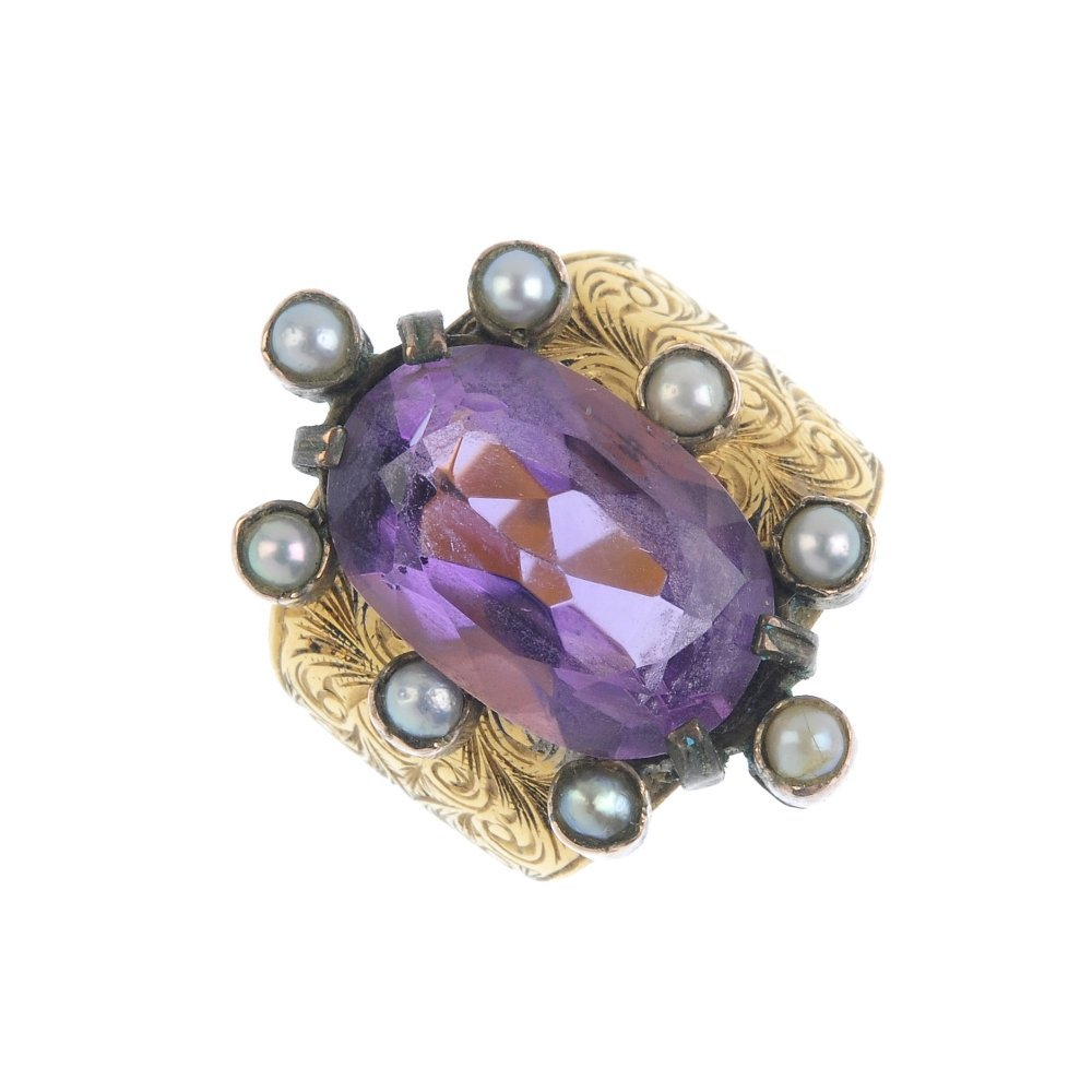 An amethyst and split pearl cluster ring. The