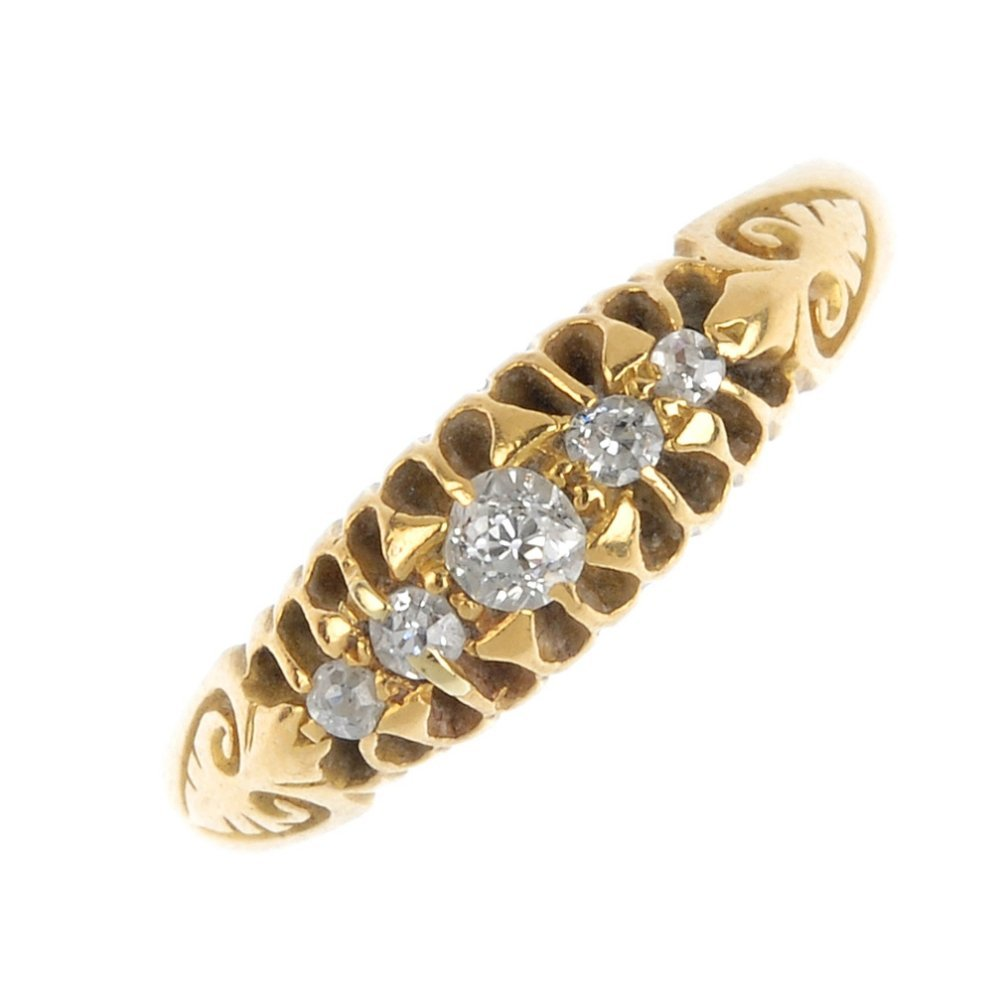 A late 19th century gold diamond five-stone ring. The