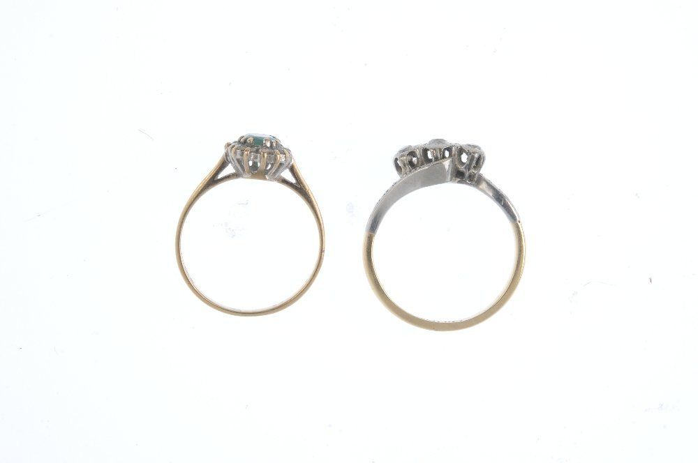 Two diamond and gem-set rings. The first designed as an - 2