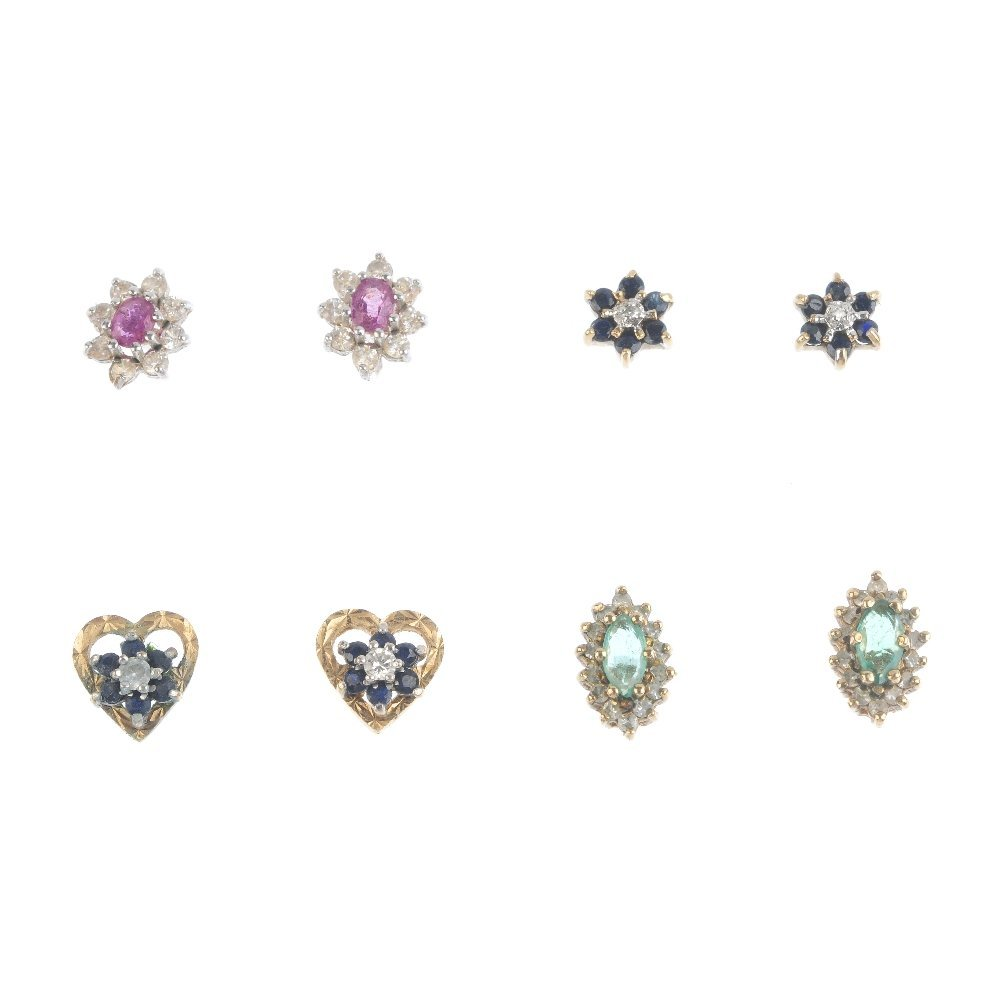 Five pairs of earrings. To include a pair of diamond