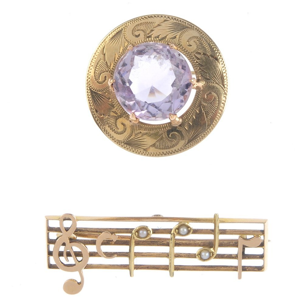 Two gem-set brooches. The first designed as an early