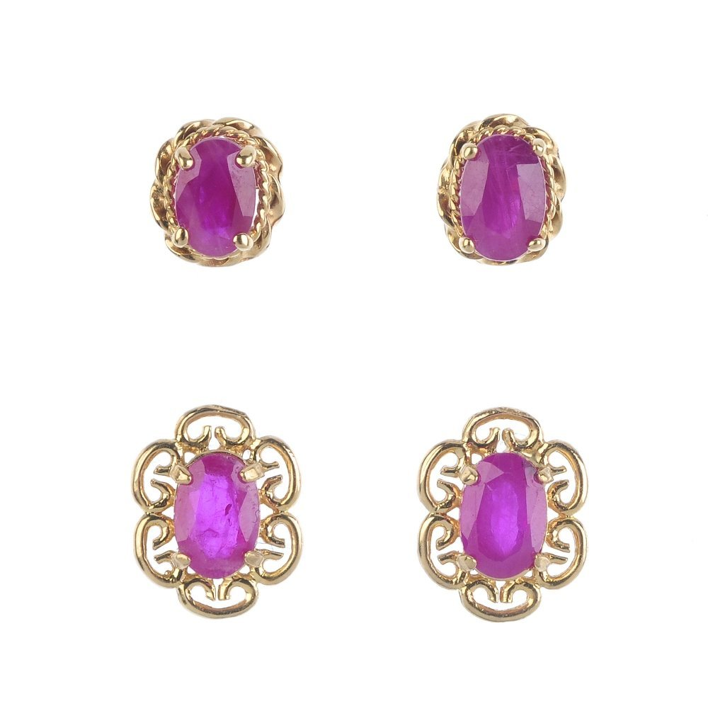 Three pairs of ruby earrings. To include two pairs of