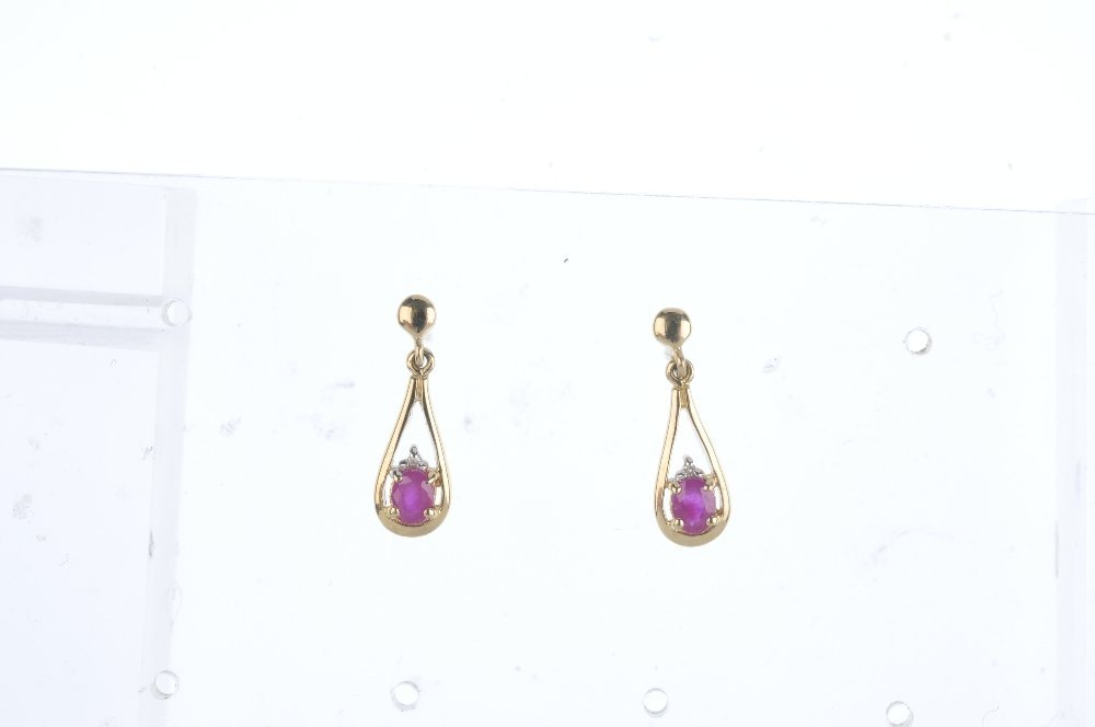 Three pairs of ruby earrings. To include two pairs of - 3