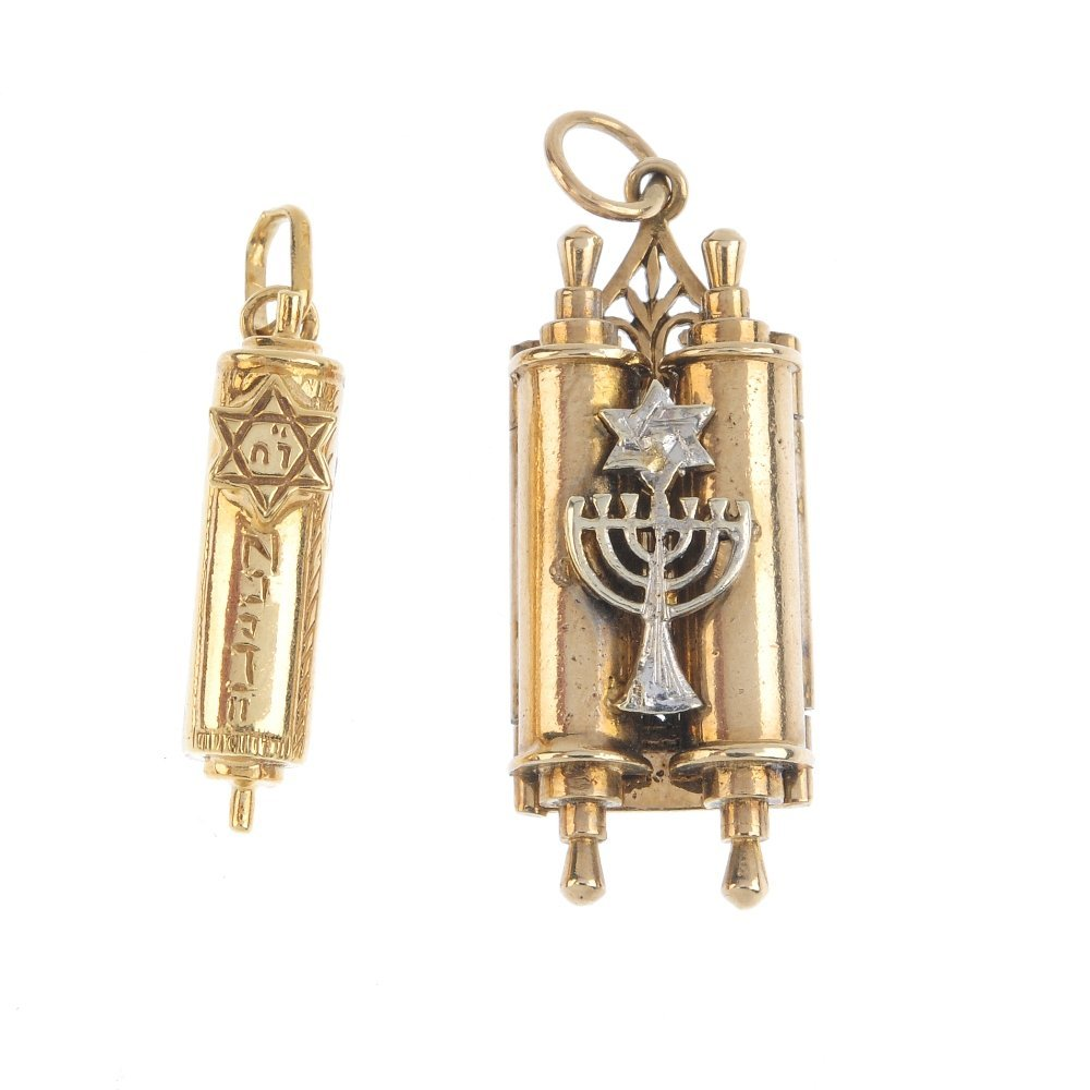 Two 9ct gold Torah charms. To include a torah charm,