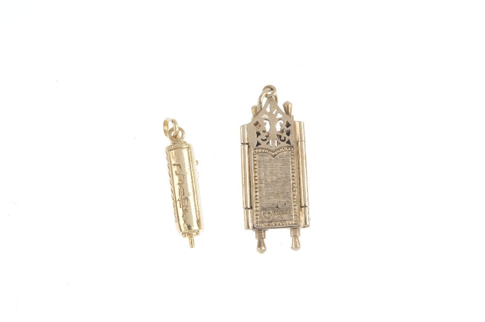Two 9ct gold Torah charms. To include a torah charm, - 2