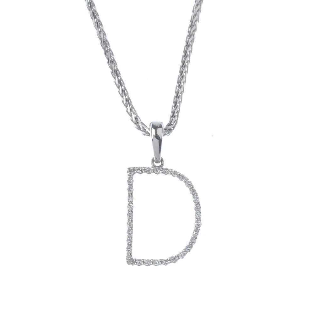 An 18ct gold diamond initial 'D' pendant. The