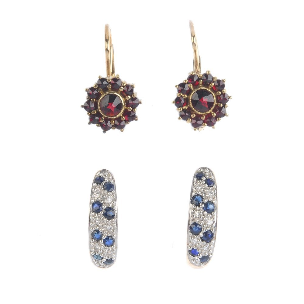 Eight pairs of gem-set earrings. To include a pair of