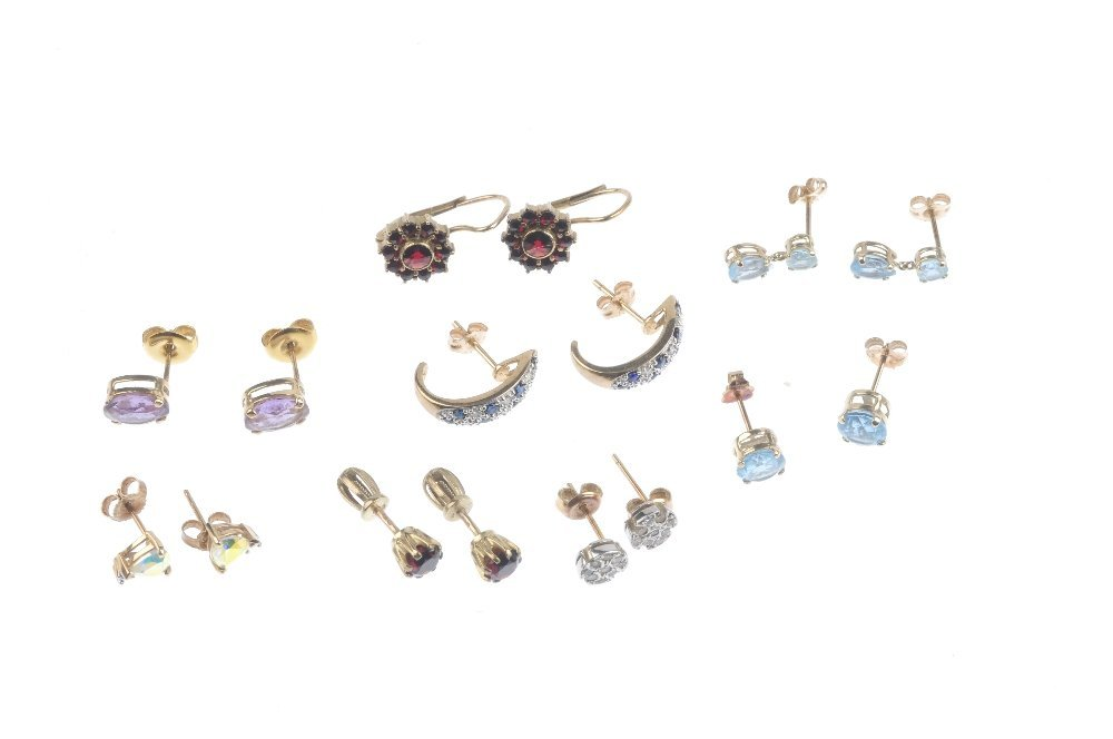 Eight pairs of gem-set earrings. To include a pair of - 2