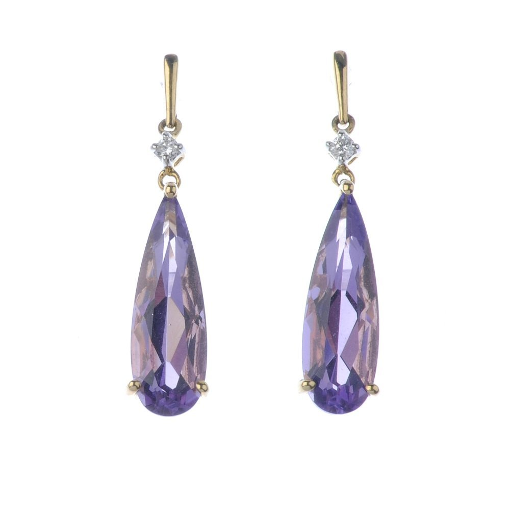 Two pairs of gem-set earrings. To include a pair of 9ct