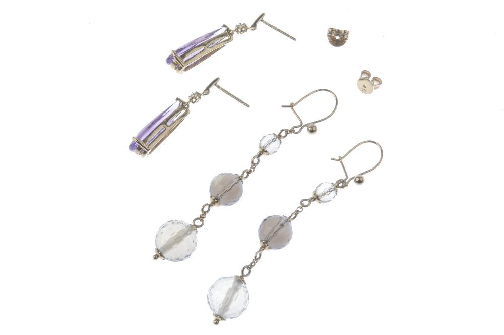 Two pairs of gem-set earrings. To include a pair of 9ct - 2
