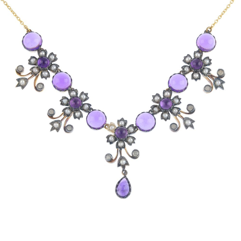 An amethyst, split pearl and diamond necklace. Designed