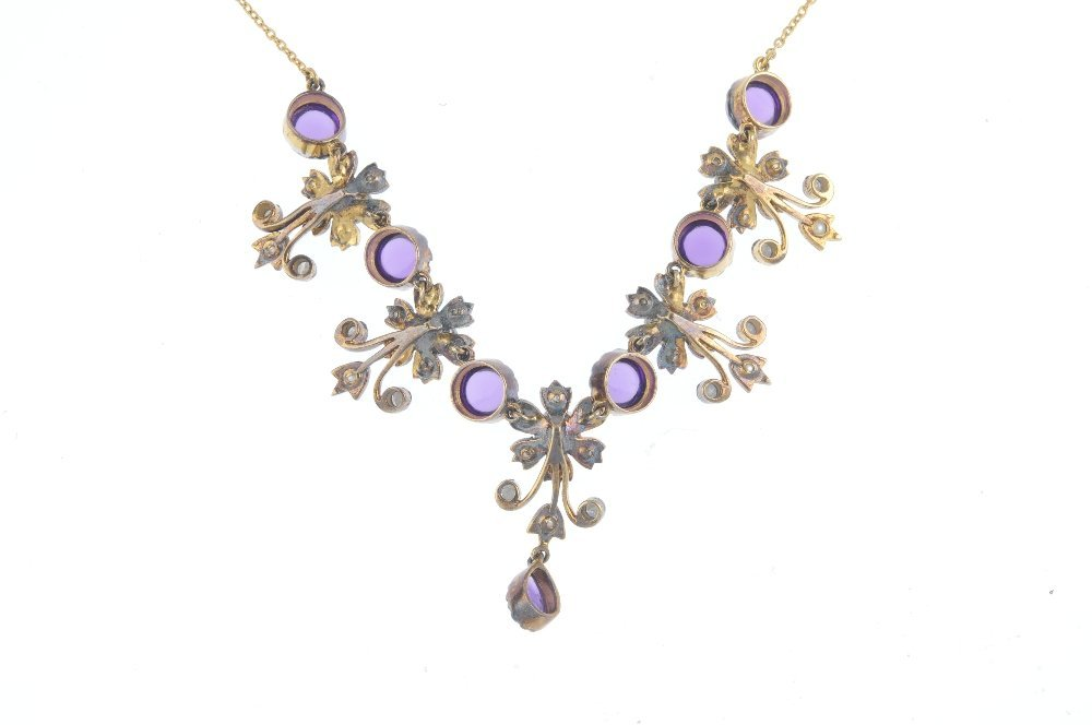 An amethyst, split pearl and diamond necklace. Designed - 2