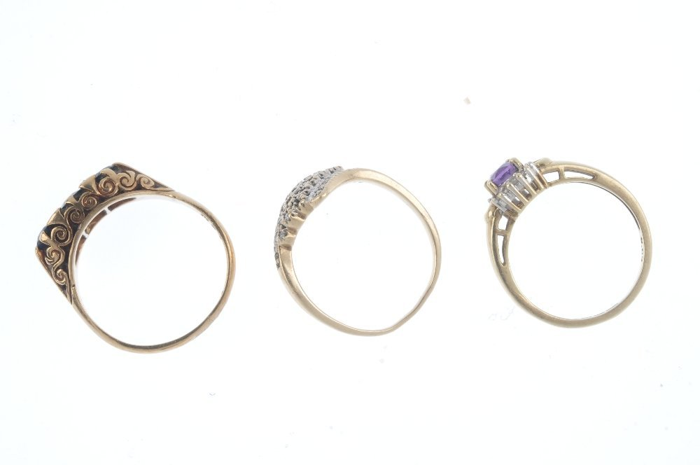 Three diamond and gem-set rings. To include a 9ct gold - 2