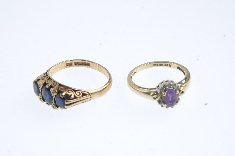 Three diamond and gem-set rings. To include a 9ct gold - 3