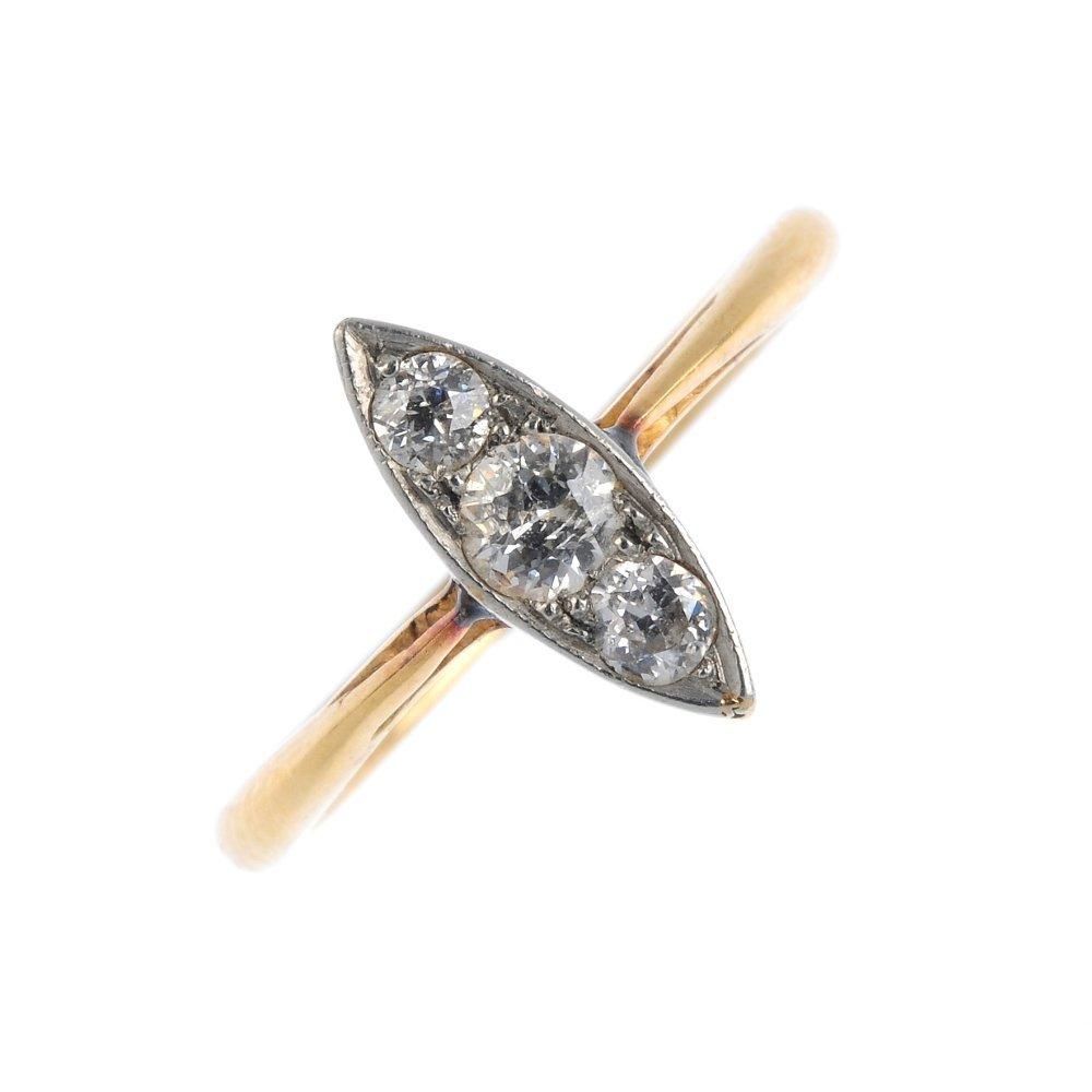 A mid 20th century 18ct gold diamond dress ring. Of