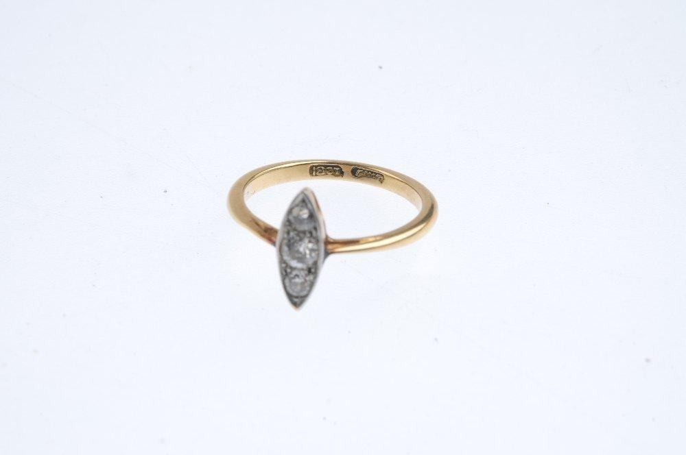 A mid 20th century 18ct gold diamond dress ring. Of - 3