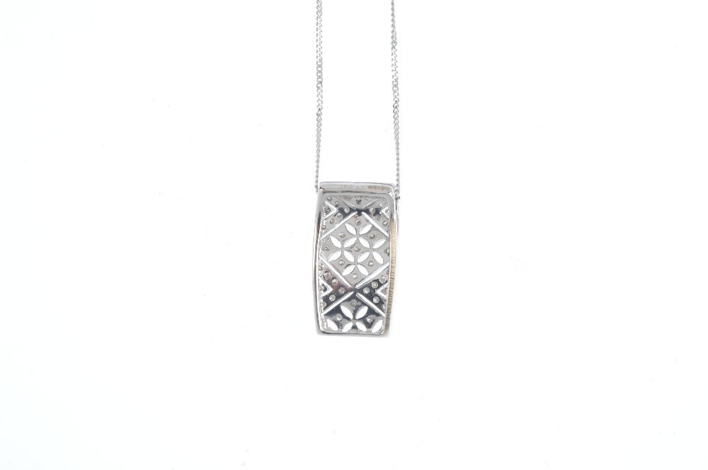 An 18ct gold diamond pendant. The pave-set diamond - 2