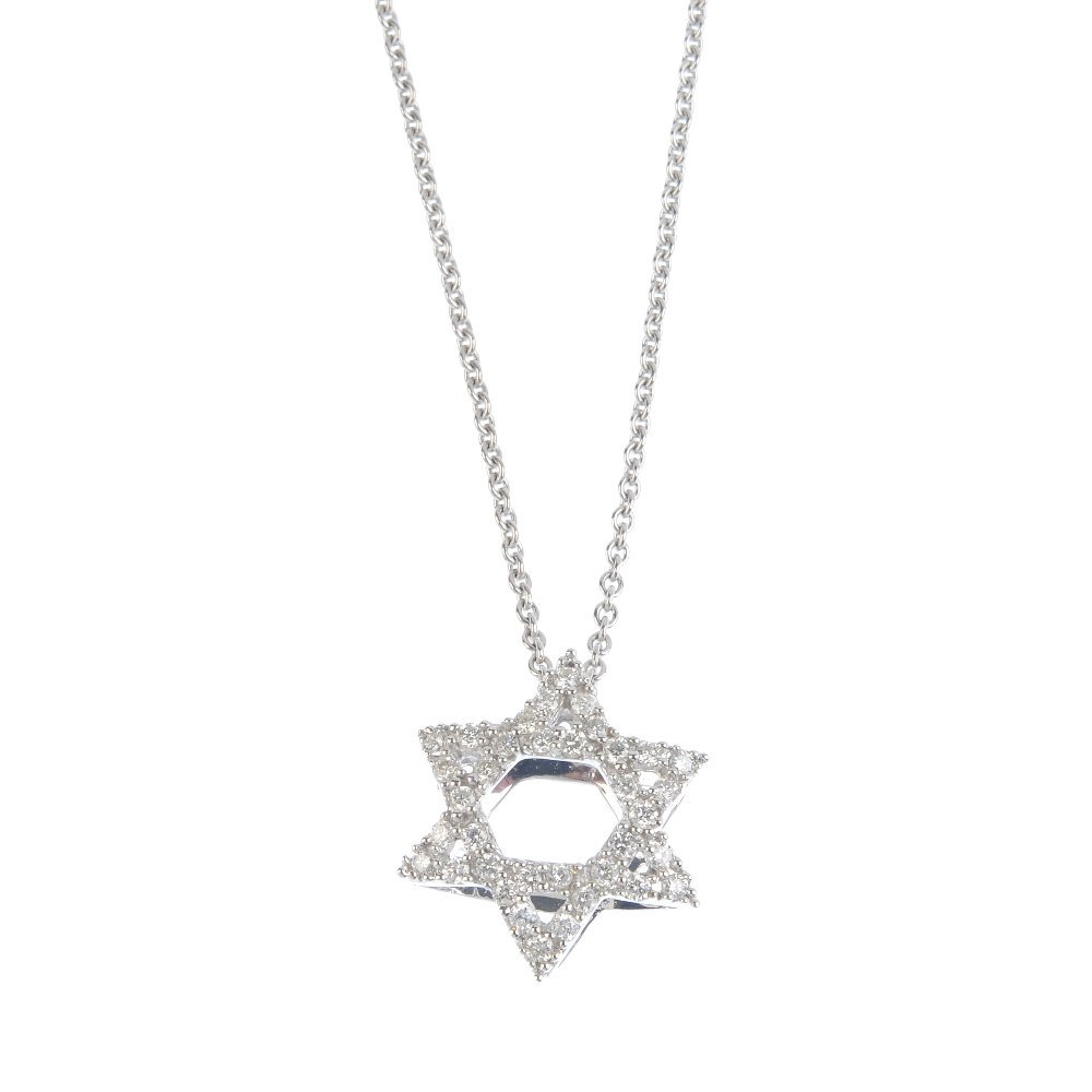 An 18ct gold diamond Star of David pendant, with chain.