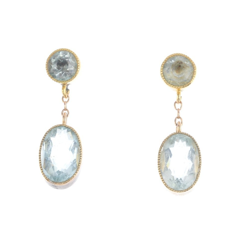 A pair of early 20th century 9ct gold paste earrings.