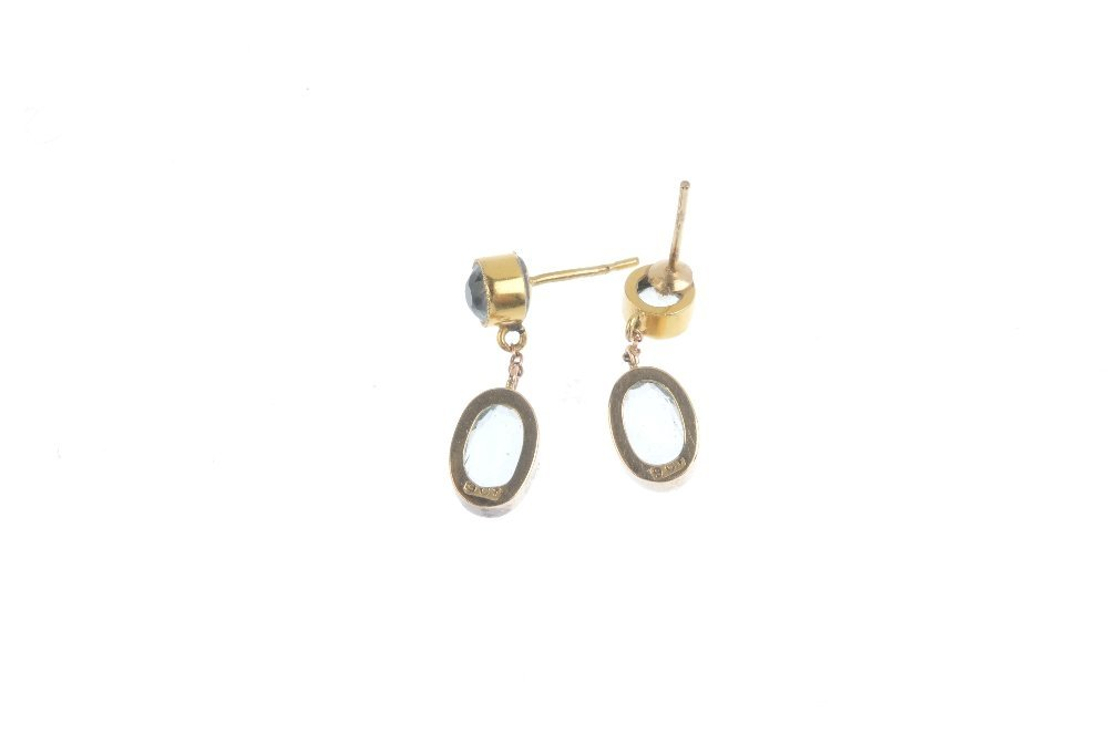 A pair of early 20th century 9ct gold paste earrings. - 2