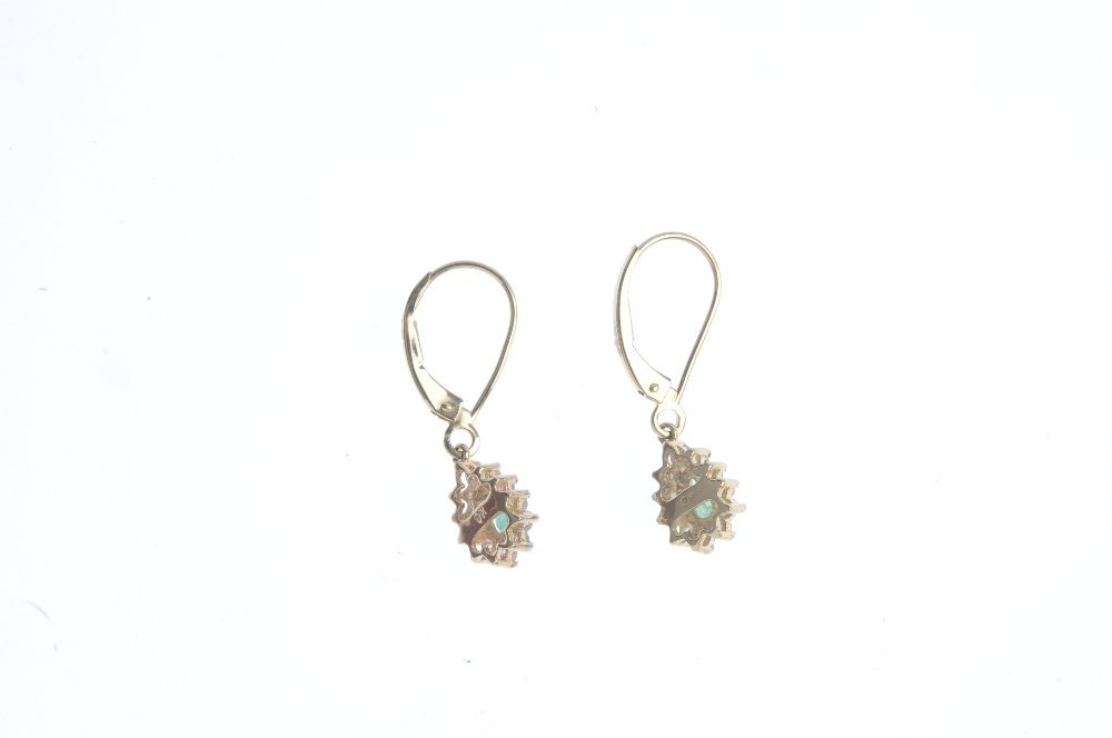 A pair of emerald and diamond ear pendants. Each - 2