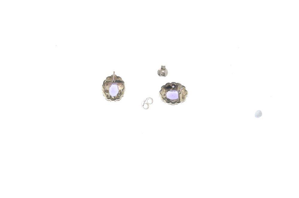 A pair of 9ct gold amethyst and diamond cluster - 2