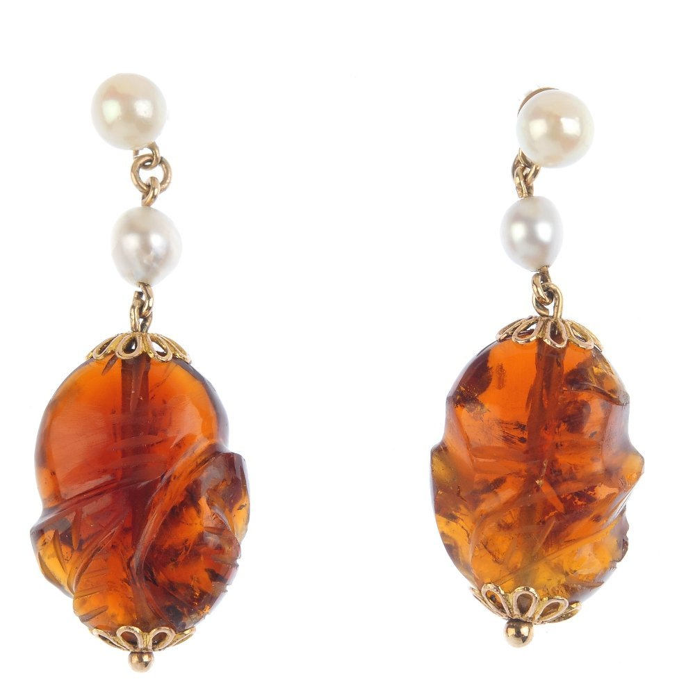 A pair of citrine and cultured pearl earrings. Each