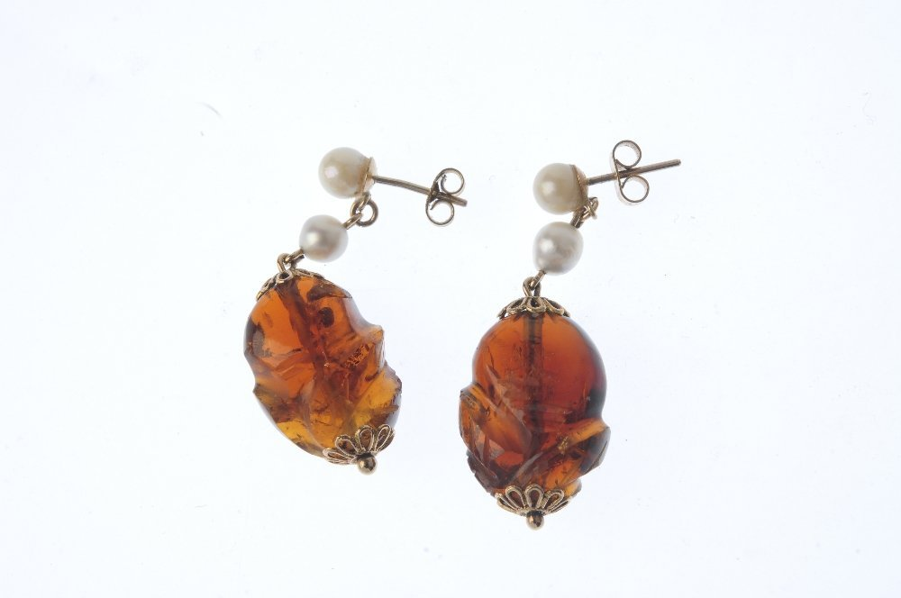 A pair of citrine and cultured pearl earrings. Each - 2