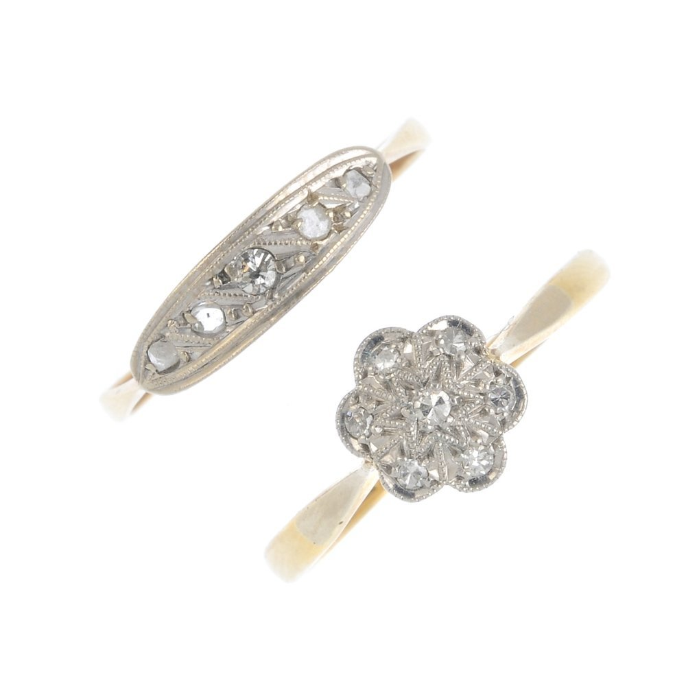 Two early 20th century 18ct gold diamond rings. To