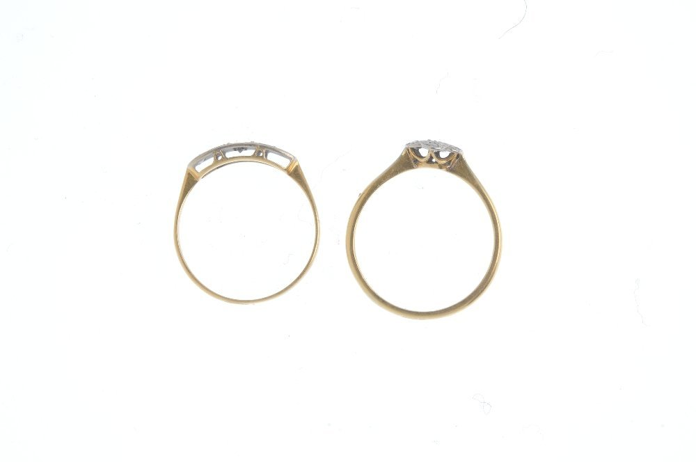 Two early 20th century 18ct gold diamond rings. To - 2