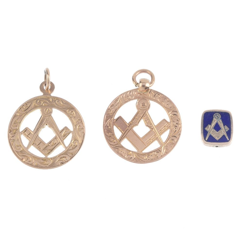 Three Masonic items of jewellery. To include two 9ct
