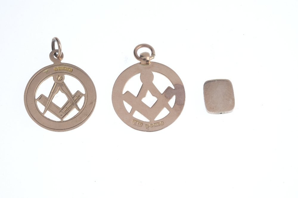 Three Masonic items of jewellery. To include two 9ct - 2