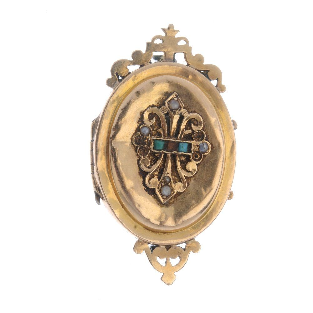 A late 19th century gold locket/brooch. The oval-shape
