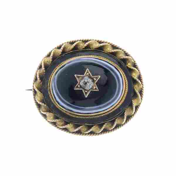 A late Victorian banded agate and diamond memorial