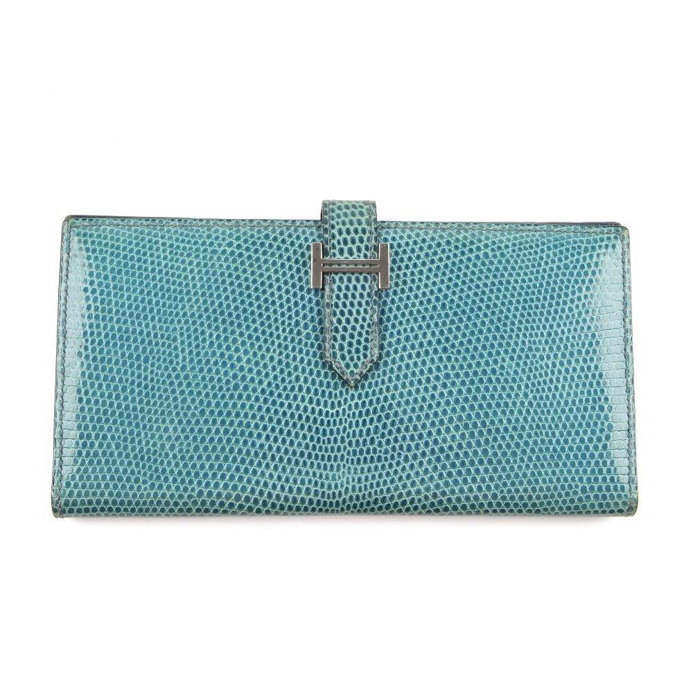 HERMES - a lizard skin Bearn wallet. Featuring a blue