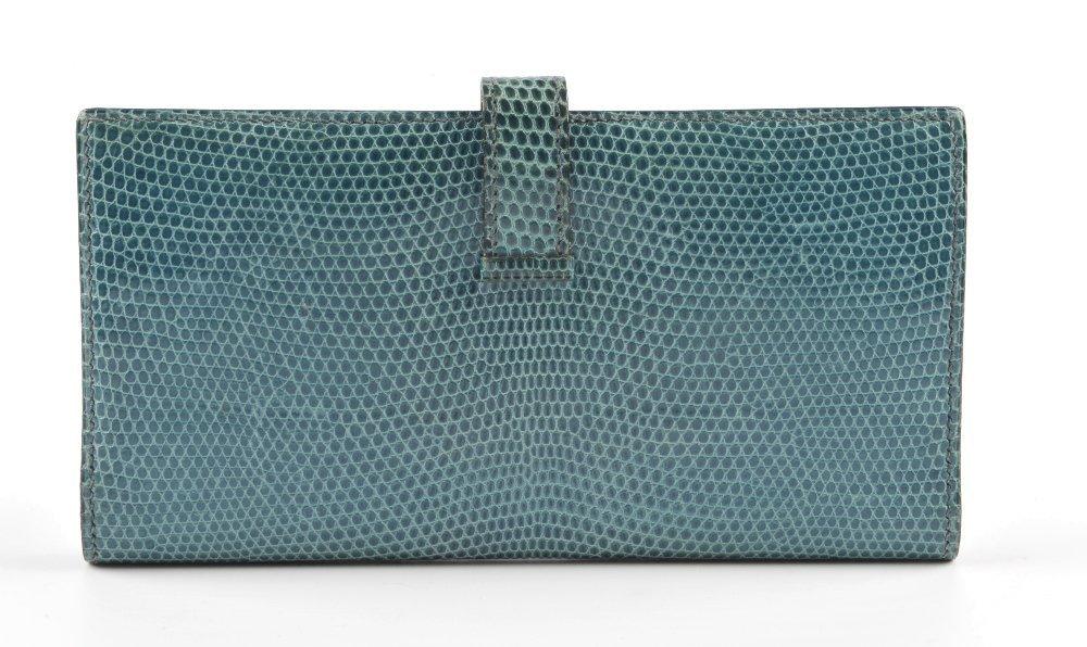 HERMES - a lizard skin Bearn wallet. Featuring a blue - 2