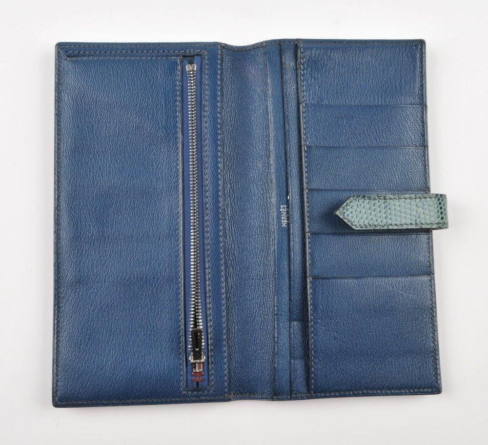 HERMES - a lizard skin Bearn wallet. Featuring a blue - 3