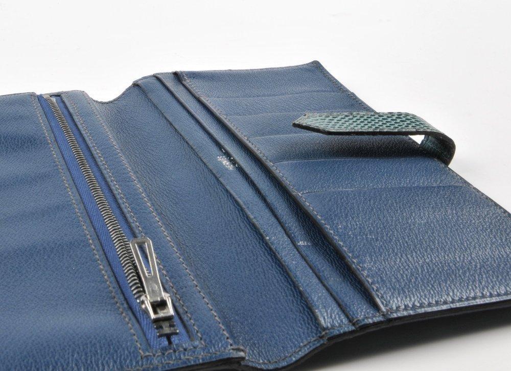 HERMES - a lizard skin Bearn wallet. Featuring a blue - 4