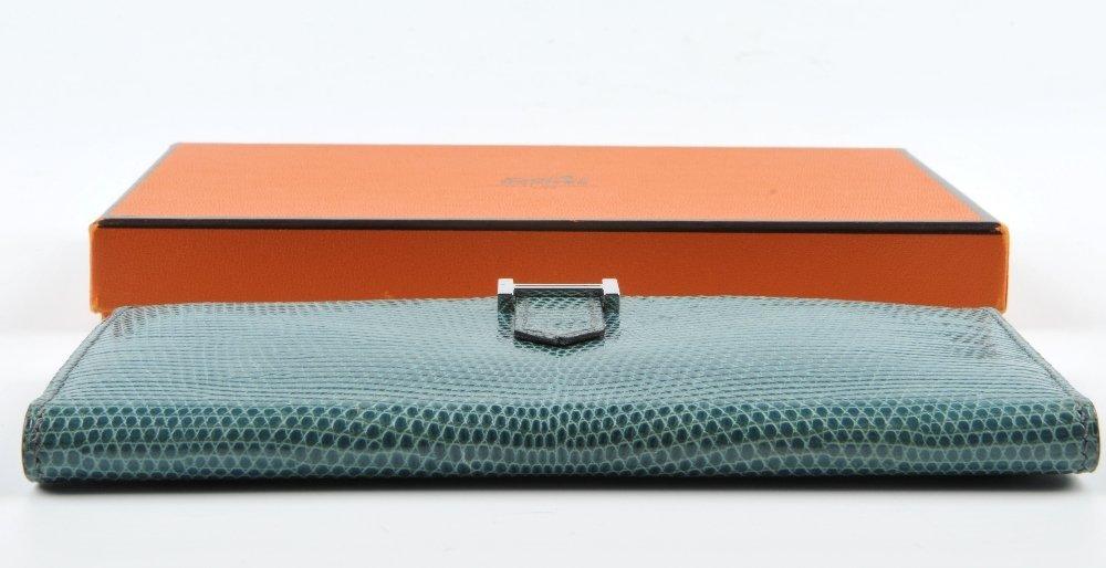 HERMES - a lizard skin Bearn wallet. Featuring a blue - 5
