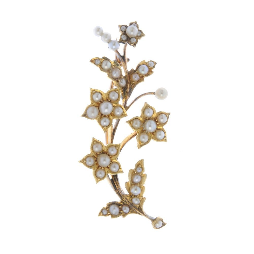 An early 20th century gold seed and split pearl floral