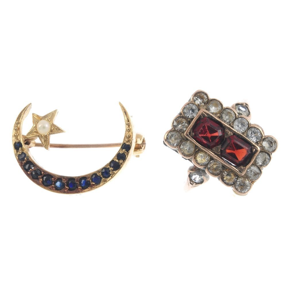 A gem-set ring and brooch. The brooch designed as a 9ct