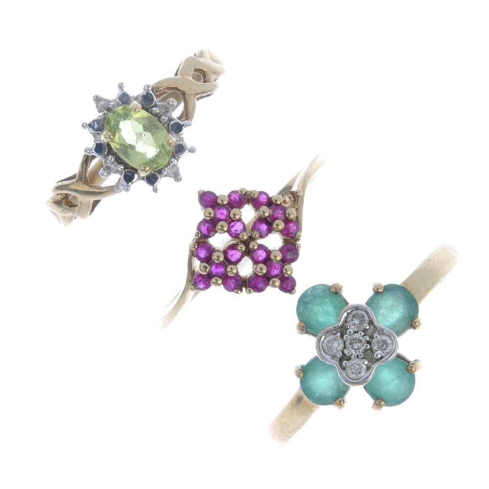 Three 9ct gold gem-set rings. To include an emerald and