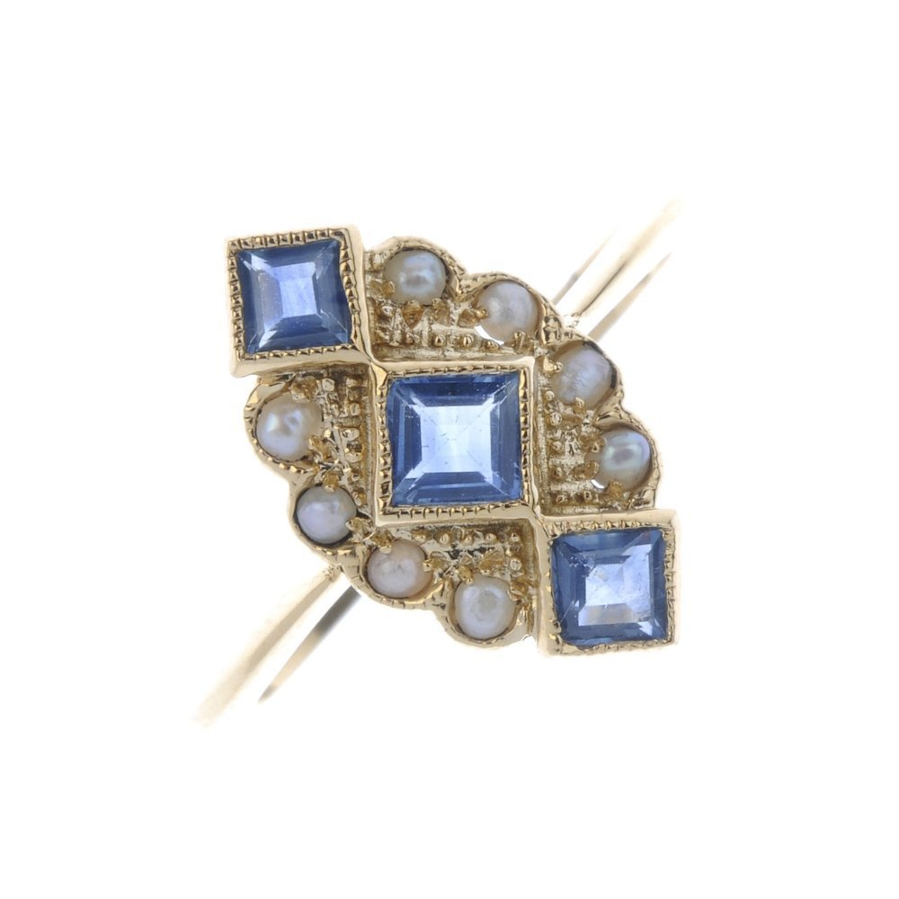 A sapphire and split pearl dress ring. Of